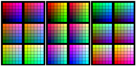 "Three ways of slicing the color cube of the 216 original ""legal"" web colors."