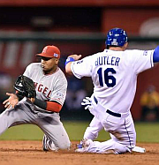 Billy Butler steals second