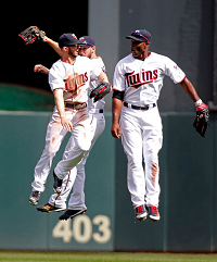 Twins jump for joy
