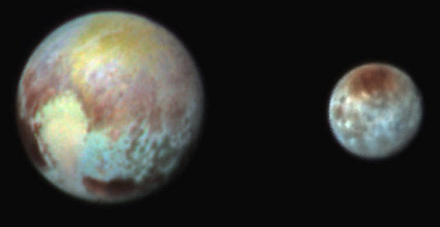 Pluto and Charon (false color)